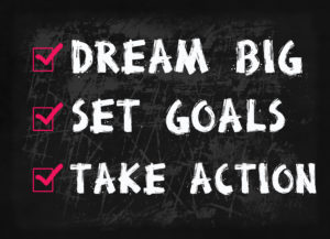 Dream big, set goal, take action word on blackboard